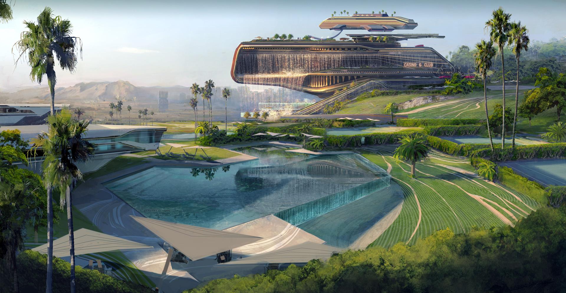 Концепт-арт Cyberpunk 2077 раскрывает Westbrook, площадку для богатых